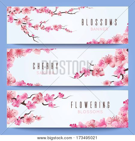 Wedding banners vector photo free trial bigstock wedding banners template with spring japan sakura cherry blossom greeting invitation with sakura stopboris