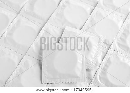 many condoms detailed top view contraception production