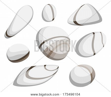 Vector Illustration Rock stone cartoon Set of different boulders Natural sea spa rock material game art.