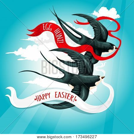 Easter holiday greeting card with swallow bird in blue spring sky. Flying swallow birds carrying ribbon banners with text Happy Easter and Egg Hunt. Easter greetings festive poster design