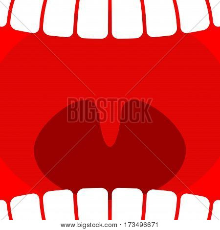 Open mouth. Teeth and throat background. larynx