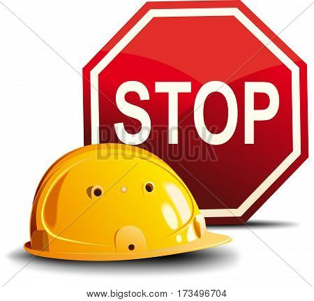 Yellow construction helmet and a red stop sign isolated on white background