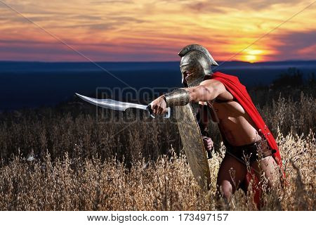Striking force. Shot of an ancient Spartan soldier with stunning strong sexy muscular body attacking with his sword in the field during beautiful sunset fight protect leader power masculinity concept
