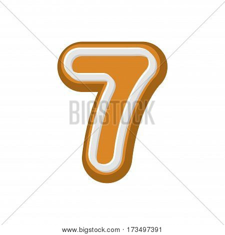 Number 7 Gingerbread Font. Peppermint Honey Cake Abc Seven. Cookies Alphabet.  Lettering Biscuit