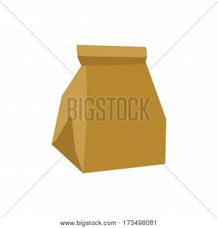 Paper Bag Crushed Garbage Isolated. Package Rubbish On White Background