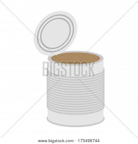 Tin Empty Open Isolated. Can Blank On White Background
