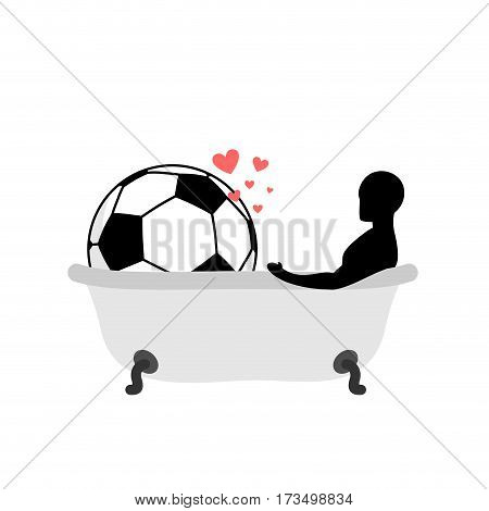 Lover Soccer. Man And Football Ball In Bath. Joint Bathing. Passion Feelings Among Lovers. Romantic