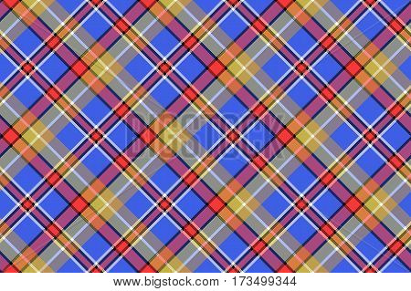 Blue madras diagonal plaid pixeled seamless background. Vector illustration.