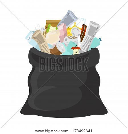 Black Garbage Bag Open. Sack Rubbish. Sackful Trash. Litter. Peel From Banana And Stub. Tin And Old