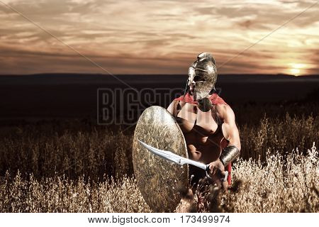 Sepia toned shot of a medieval Spartan warrior in a battledress walking through the battlefield armed with his sword and a shield copyspace protection safety guard security bravery hero concept.