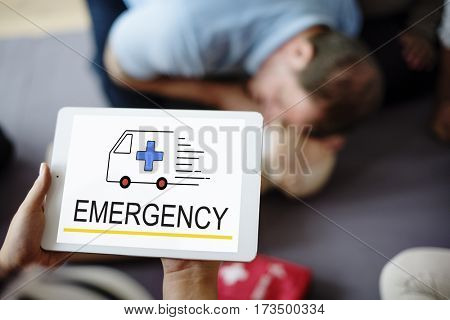 Emergency Ambulance Vehicle Healthcare Icon Word