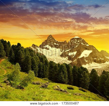 Beautiful landscape with views of the mountain Gabelhorn at sunset in Pennine alps, Switzerland.