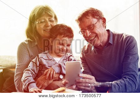 Grandparent Grandson Family Technology Digital