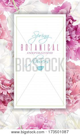 Vector botanical vertical banner with pink peony and white tulips on white background. Tender design for natural cosmetics, perfume. Can be used as greeting card or wedding invitation