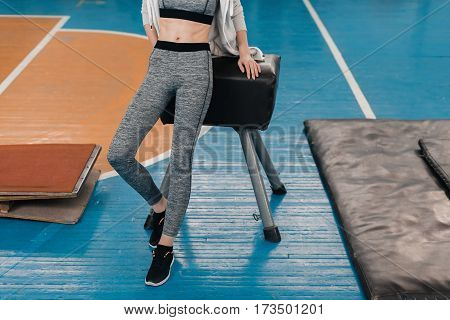 Partial view of young sportswoman leaning at pommel horse in gym
