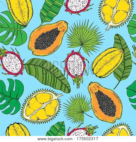 Pattern of tropical fruits and tropical leaves. On a blue background. Seamless.