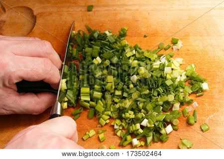 Cut Green Onion With A Kitchen Knife