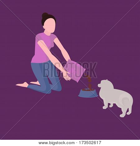 Girl feeding dog, isoleted pet bowl with food, meal plate. Puppy feed treat, doggy diet, healthy nutrition