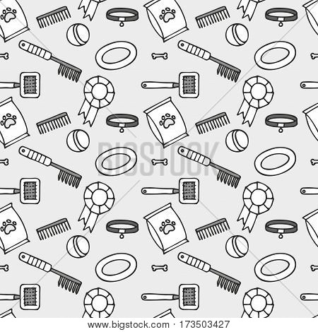Doodle isolated seamless pattern of dog items elements. Pet icons walking, feeding, grooming salon equipment.