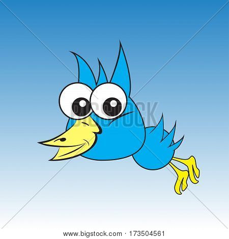 Art bird. Big eyes of the animal. Template for your work. Animation with birds. Vector illustration