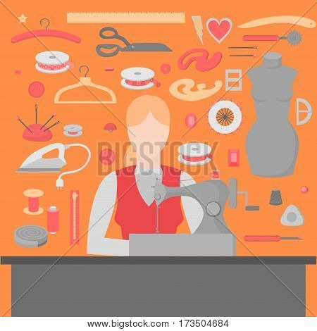 Woman tailor. Sewing workshop equipment. Flat shop design elements. Tailoring industry dressmaking tools icons. Fashion designer sew items.