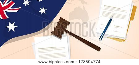 Australia law constitution legal judgment justice legislation trial concept using flag gavel paper and pen vector