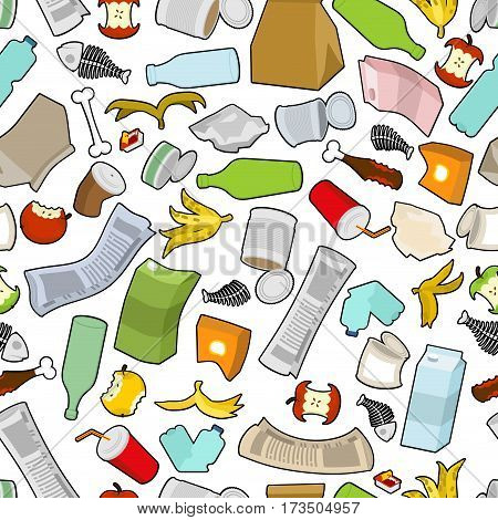 Garbage Texture. Rubbish Seamless Pattern. Trash Ornament. Litter Background. Peel From Banana And S
