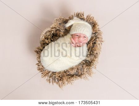 Adorable baby all covered up resting on a big furry brown pillow, topshot