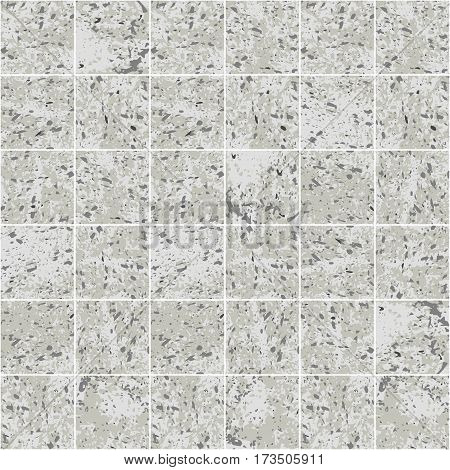 Concrete square tile grey grunge texture seamless pattern, vector background