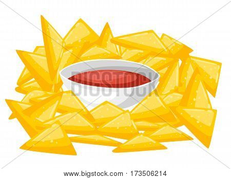 Nachos Chips With Traditional Mexican Cuisine Dish Food Item From Cafe Menu Vector Illustration