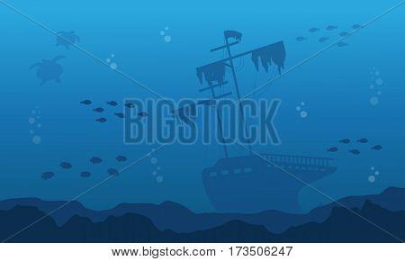 Silhouette of big ship on underwater landscape vector art