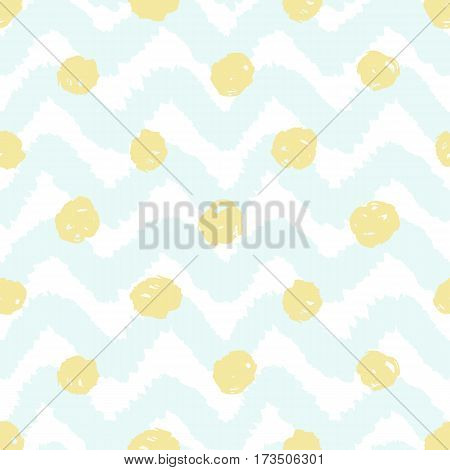 Grunge chevron and polka dots seamless pattern. Vector hand drawn background