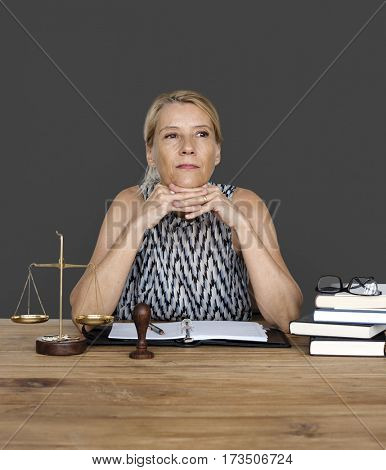 Woman Working Justice Scale Judgment Law