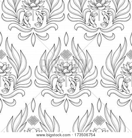 Buddhism Symbols Seamless Pattern with endless knot, lotus, fishes on white background. Coloring page.
