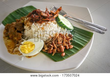 Nasi lemak traditional Malaysian spicy rice dish.The most famous dishes for a Malay-style breakfast.