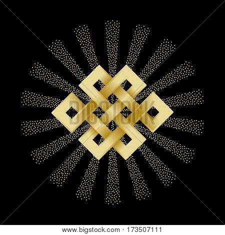 Gold endless knot with beam of light on black background. Buddhism symbol.