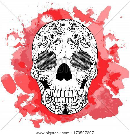 Line art hand drawing black skull isolated on white background with red watercolor blots. Doodle style. Tatoo. Zenart. Zentangle.Coloring for adults. Vector illustration.