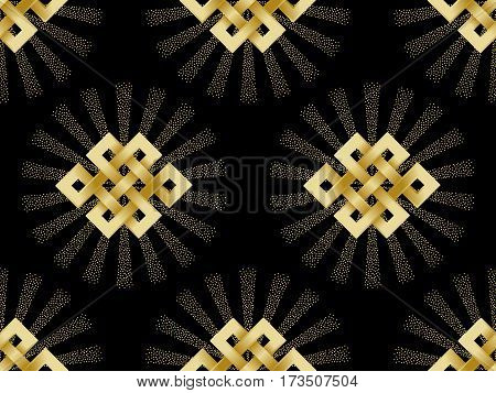 Seamless Pattern with Gold endless knot and beam of light on black background. Buddhism symbol wallpaper.