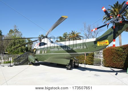 YORBA LINDA, CALIFORNIA - FEBRUARY 24, 2017: Marine One at the Nixon Library. The helicopter was used by 4 presidents, Kennedy, Johnson, Nixon and Ford.