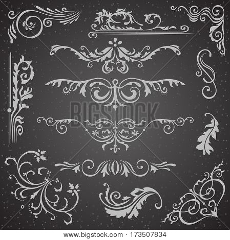 Dark Flourish Border Corner and Frame Elements Collection. Vector Card Invitation Elements. Victorian Grunge Calligraphic Frame Elements. Wedding Invitations Set. Medieval Ornament Borders Silhouette