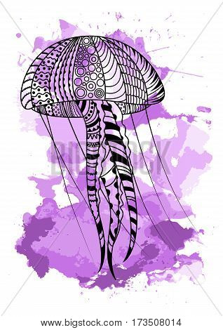 Line art hand drawing black jellyfish isolated on white background with violet watercolor blots. Doodle style. Tatoo. Zenart. Zentangle.Coloring for adults. Vector illustration.