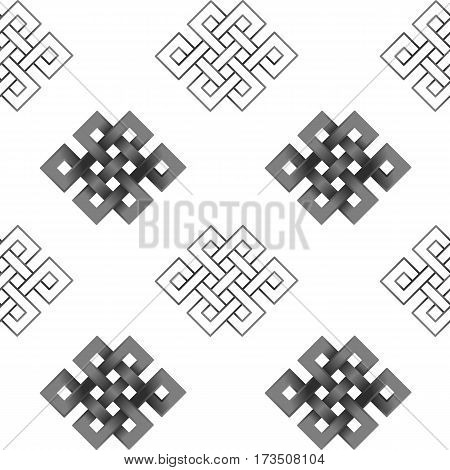 Seamless Pattern with silver endless knot on white background. Buddhism symbol wallpaper.