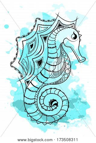Line art hand drawing black sea horse isolated on white background with blue watercolor blots. Doodle style. Tatoo. Zenart. Zentangle.Coloring for adults. Vector illustration.