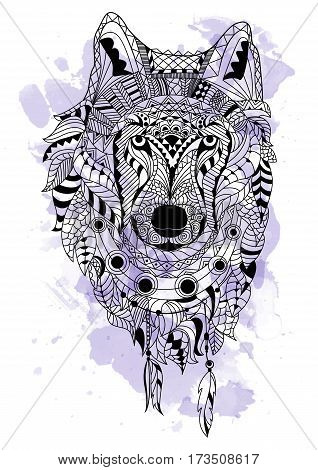 Line art hand drawing black wolf isolated on white background with watercolor blots. Doodle style. Tatoo. Zenart. Zentangle.Coloring for adults. Vector illustration.