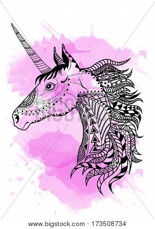 Line art hand drawing black unicorn isolated on white background with pink watercolor blots. Doodle style. Tatoo. Zenart. Zentangle.Coloring for adults. Vector illustration.