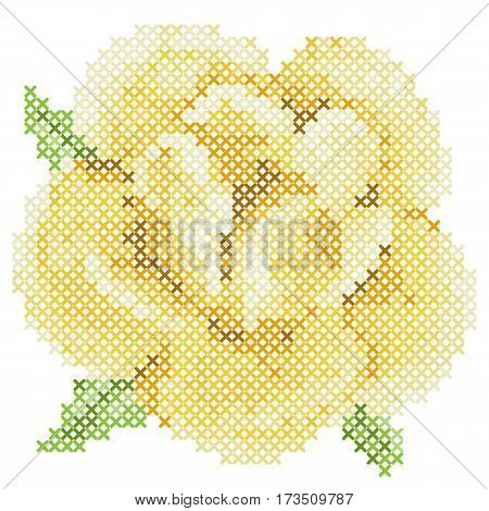 Cross stitch yellow rose on white background. Vector pattern for embroidery or needlework. Modern tattoo.