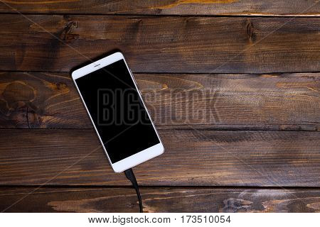White Mobile Phone Wooden Background Wooden Charging Cable