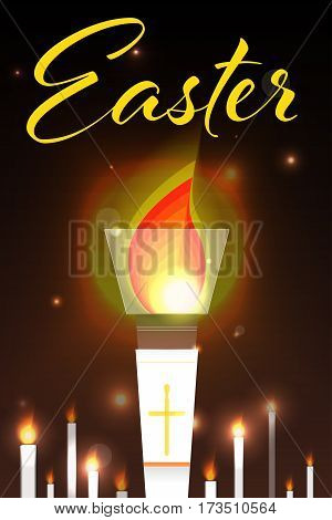Easter illustration with burning candles. Design template for poster, web banners ad, greeting card, article.
