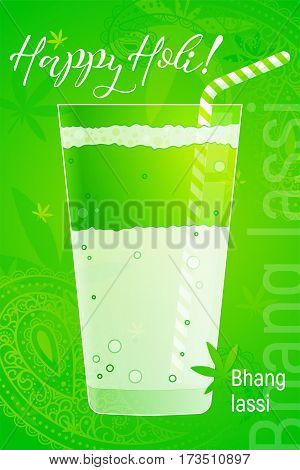 Glass of bhang lassi with cannabis leaf. Indian traditional drink to celebrate Holi in simple cartoon style. Special Lassi. Vector illustration. Design template for poster, web banners ad, article, greeting card.