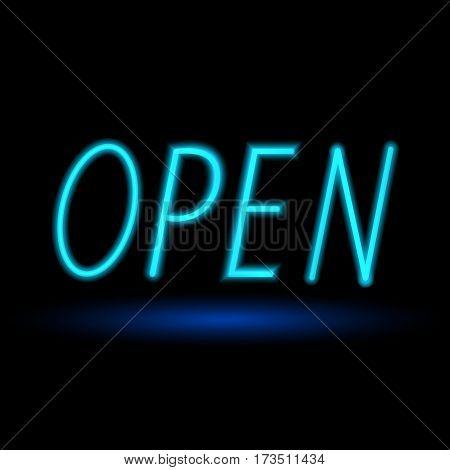 Open neon sign . Vector illustration .
